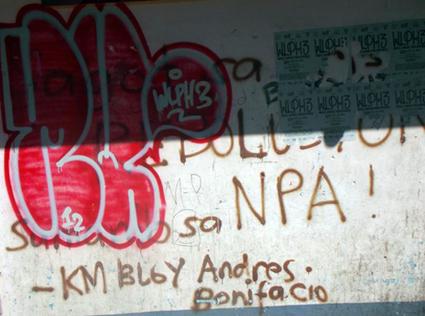 Pro-NPA graffiti; photo by Cameron Walker/PMC