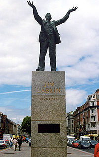 Monument to James Larkin, O'Connell St, Dublin; there are no monuments to the bosses' leader, William Martin Murphy