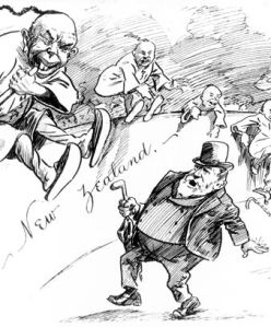 New Zealand prime minister Richard Seddon supposedly fighting off swarms of Chinese migrants; 1905 cartoon