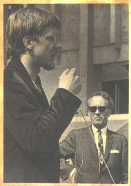 Martin Nicolaus speaking at rally at Simon Fraser university in Canada, 1968