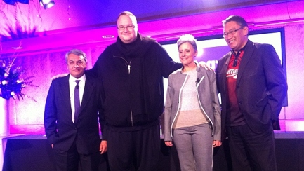 Hone-Harawira--Laila-Harre--Kim-Dotcom-at-a-launch-CORAZON-MILLEr