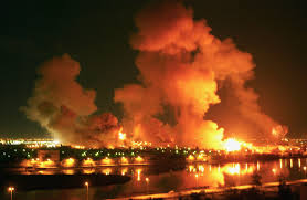 US bombing Baghdad; the western imperialist invasion killed hundreds of thousands of Iraqis and destabilised the region further; the western powers need to get out and stay out