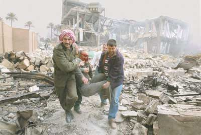 US bombing of Baghdad that preceded invasion; Western intervention destroyed Iraq, creating the present situation
