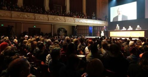 Mass public meeting, Auckland Town Hall last night featuring Glen Greenwald, Julian Assange and Edward Snowden. Photo: Radio NZ/Kim Baker Wilson