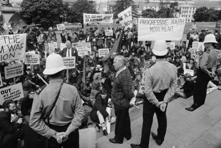 Anti-Vietnam War protest at parliament; the SAL came out of the youth radicalisation around the war and played a leading role in the anti-war movement