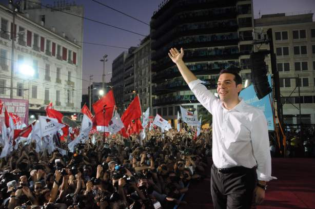 Syriza leader Alexis Tsipras and party supporters