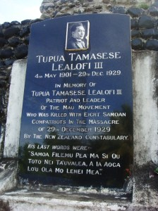 Memorial to Samoan civilians gunned down in 1929 by NZ forces interfering in their country