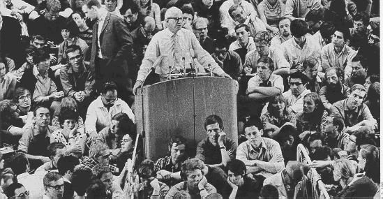 "Marcuse addressing an assembly of radical students in 1968, ""the year of revolutions"""