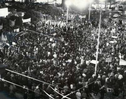 Part of anti-Vietnam War march in Wellington, April 30, 1971; tens of thousands took to the streets across NZ that night and again on July 30, 1971