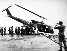 The defeat of the imperialists was dramatically symbolised when they had to ditch many of their 'Huey' helicopters into the sea as they fled in April 1975
