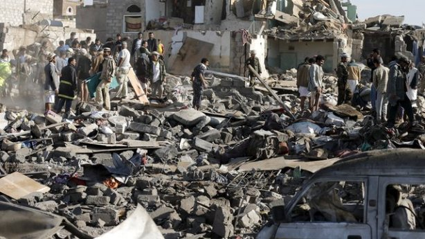 Saudi Arabian absolutist monarchy bombing Yemen