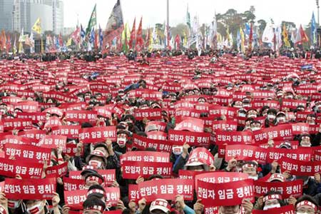 South Korean workers' protest. (AP Photo/Ahn Young-joon)