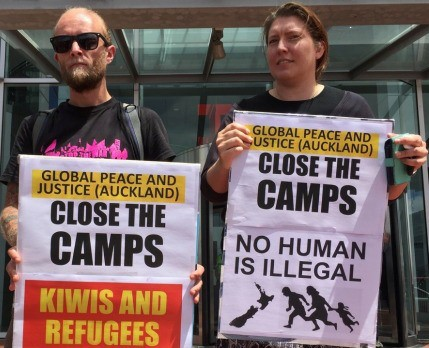 Protest called by Global Peace and Justice (Auckland) and supported by Unite trade union, Australian