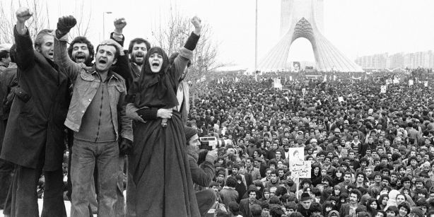 Mass anti-Shah protest, Iran,  early 1979