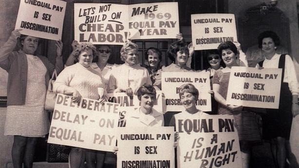 Working class women protesting for equal pay, Australia, 1969