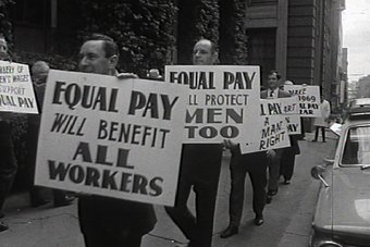 Working class men demonstrating for equal pay for women in Australia, 1969