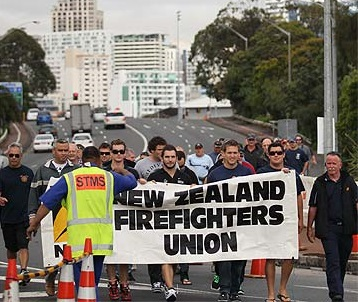 Local firefighters arrive to support Auckland Port workers during 2011 dispute; pic by PETER MEECHAM/Fairfax Media