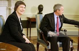 Clark and her mate George Bush; she helped him invade Afghanistan