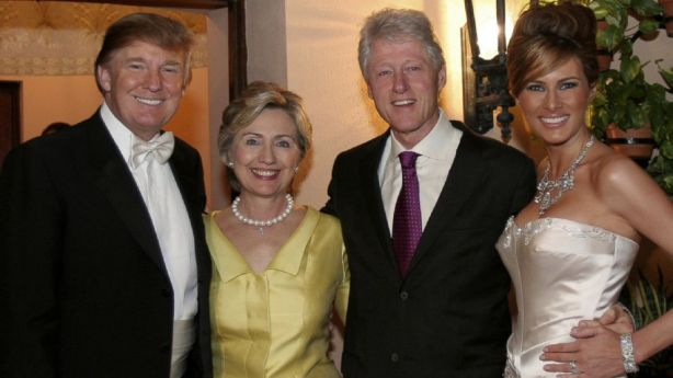 The Trumps and the Clintons at the Trumps' wedding, January 2005