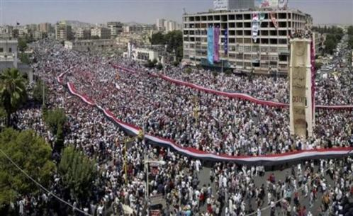 Massive anti-regime protest, Hama, Syria, July 2011