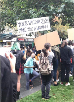 Misogynistic gender identity activists at Melbourne's International Women's Day 2019